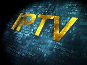 SEO web development concept: IPTV on digital background