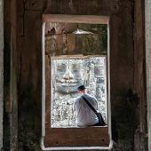 Tranquil moment at Bayon, Angkor Thom