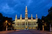 Tall gothic building of Vienna city hall in night Austria