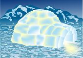 stock photo of igloo  - igloo in winter landscape - JPG