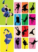 collection of several modern breakdance dancing moves
