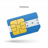 Honduras mobile phone sim card with flag.