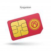 Kyrgyzstan mobile phone sim card with flag.