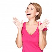 Beautiful happy surprised woman with positive emotions  - isolated on white background