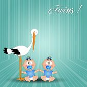 Stork With Twin Boys