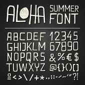stock photo of hand alphabet  - SIMPLY HAND DRAWN FONT for seasonal posters or other works on chalkboard background - JPG