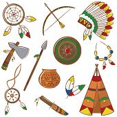 Native American Icons Set