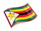 Zimbabwe Flag Icon, Isolated On White Background.