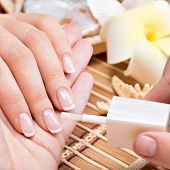stock photo of nail paint  - Woman in a nail salon receiving manicure by a beautician - JPG