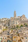 Panoramic View Of Tipical Stones And Church Of Matera