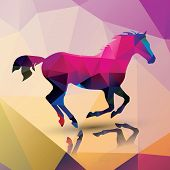 Geometric polygonal horse, pattern design, vector illustration