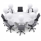 3d people at the round table. One chair is empty