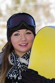 Beautiful Woman Snowboarder