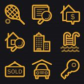 Real estate web icons, gold line set
