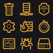 Internet security web icons, gold line set
