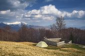 Spring landscape with the beautiful sky. Camping in the mountains. Carpathians, Ukraine, Europe