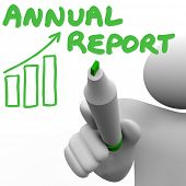 Annual Report Words Man Writing Financial Profit Revenue Increase Growth