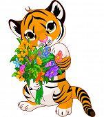 Cute little tiger cub holding a bouquet. Raster version.