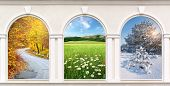 Windows of seasons. Element of design.