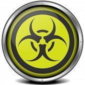 illustration of a metal framed biohazard icon, eps10 vector