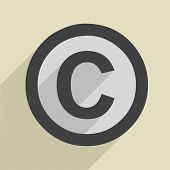 minimalistic illustration of a copyright icon, eps10 vector