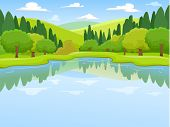 Illustration of a Peaceful Scenery Featuring a Lake Surrounded with Trees