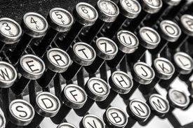 picture of qwerty  - Black and white close-up view of an old typewriter keys ** Note: Visible grain at 100%, best at smaller sizes - JPG
