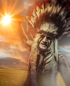 image of indian chief  - American Indian warrior - JPG