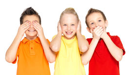 stock photo of adversity humor  - Funny faces of happy children doing  - JPG