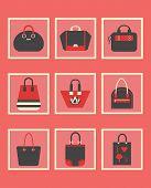 Unique red women purse square icons set