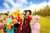 Many kids wear Halloween costumes in park