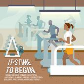 stock photo of treadmill  - People training on treadmills in gymnasium fitness lifestyle time to begin poster vector illustration - JPG