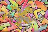 An Old Graffiti Wall Background with Peeling Plaster