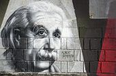 Albert Einstein Graffiti On The Wall In Opatija Angiolina Park.