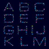Festive Alphabet Of Bright Color Stars. Character A-m