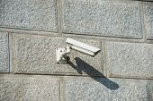 Security camera attached to the wall