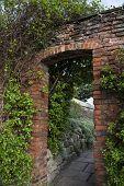 Garden brick wall with doorway