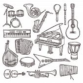 stock photo of drum-set  - Music instruments sketch icon set with drum violin guitar isolated vector illustration - JPG