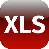 File Xls Sign Icon. Download Document File Symbol. Red Shiny Button.