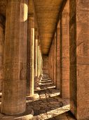 stock photo of hatshepsut  - Courtyard columns view at the Hatshepsut Temple  - JPG