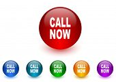 call now internet icons colorful set
