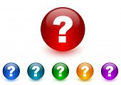 question mark internet icons colorful set