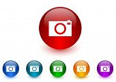 camera internet icons colorful set