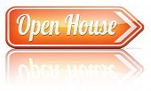 Open house for sale sign at model house for buying real estate property