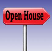 Open house for sale sign at model house for selling or buying real estate property road sign