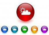 cloud internet icons colorful set