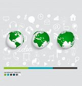 Modern infographics template style ,modern globe with application icon. Vector illustration.