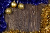 Background Christmas image with decoration balls and tinsel. Place for text