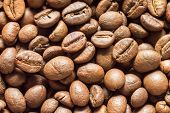 Coffee Beans Close Up Background Texture