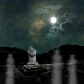 Ominous Dark Night In The Dim Moonlight On Halloween